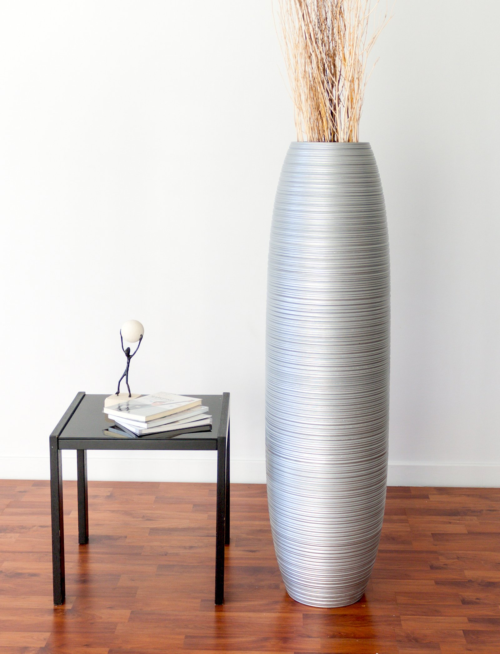 Tall Floor Vase 44 inches, Wood, Silver