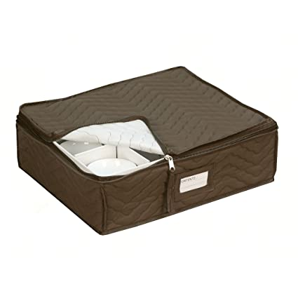 China Cup Storage Chest   Deluxe Quilted Microfiber   Holds 12 Stemware  Dishes, Coffee/
