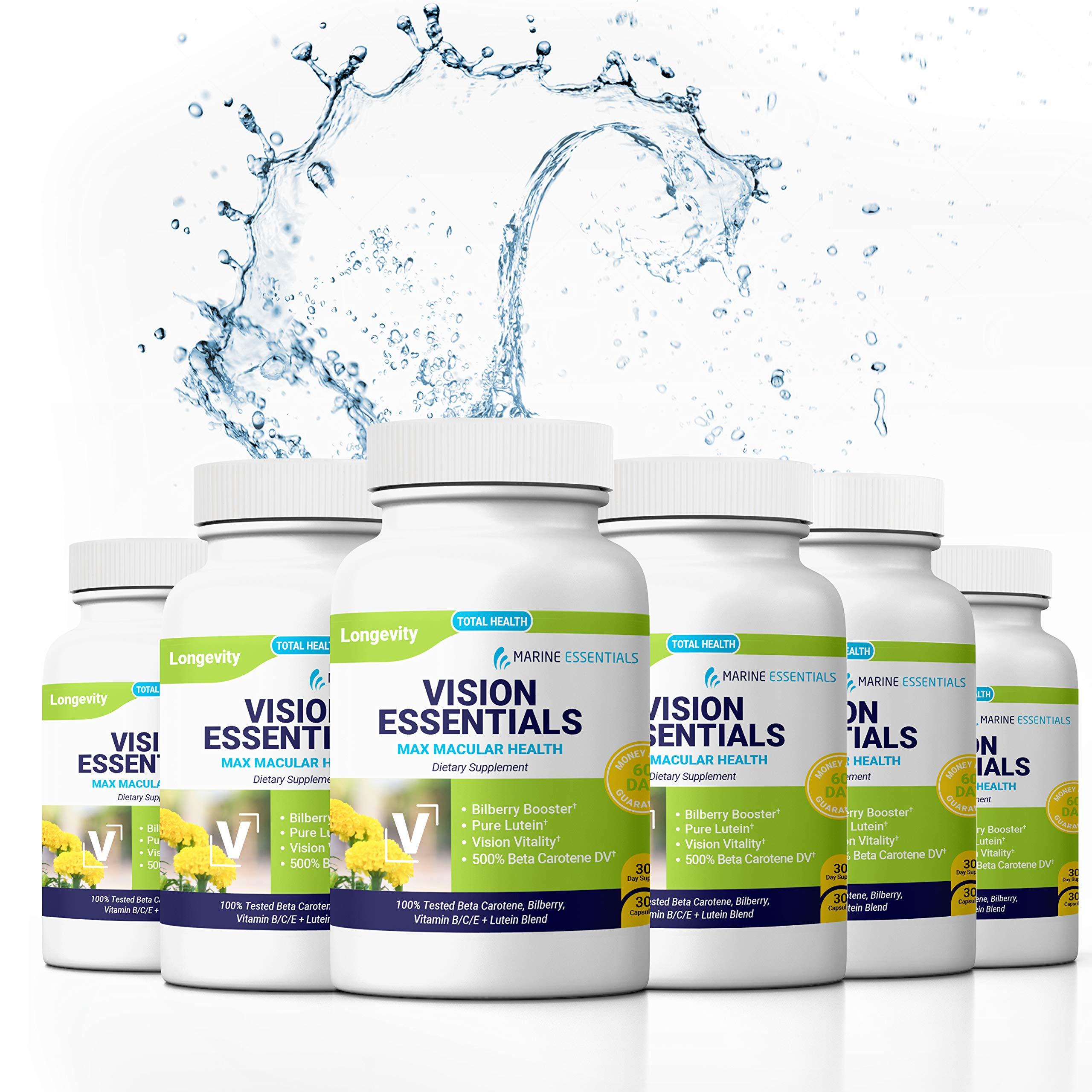"Marine Essentials Lutein and Zeaxanthin Supplements - ""Vision Essentials"" Pure Lutein Eye Supplement + Anti Oxidant Supplement Eye Vitamins (240 Capsules)"