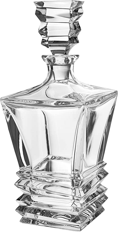 Amazon Com Barski European Quality Crystal Square Shaped Whiskey Liquor Decanter 28 Oz With Layered Glass Design Made In Europe Liquor Decanters