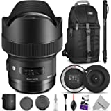 Sigma 14mm f/1.8 DG HSM Art Lens for CANON EF w/ Sigma USB Dock & Advanced Photo and Travel Bundle