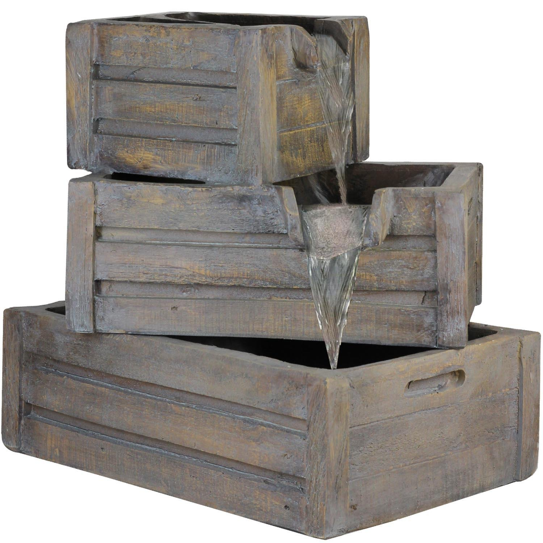 Northlight Three Tier Planter Boxes Outdoor Patio Garden Water Fountain, 21'', Brown