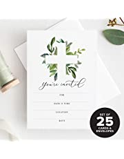 Bliss Collections Baptism Invitations with Envelopes 25 Pack, for First Communion, Christening, Baby Dedication, Religious Celebration or Reconciliation, for Girls and Boys, Fill in invites