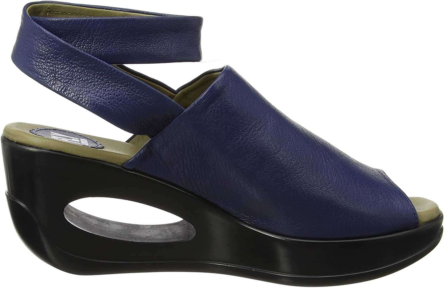 FLY London Hini892, Sandales Bride Cheville wedge Femme Bleu Blue 006