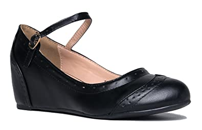 bb491ec68ff8 Image Unavailable. Image not available for. Color  J. Adams Minnie Mary  Jane - Retro Round Toe Ankle Strap ...