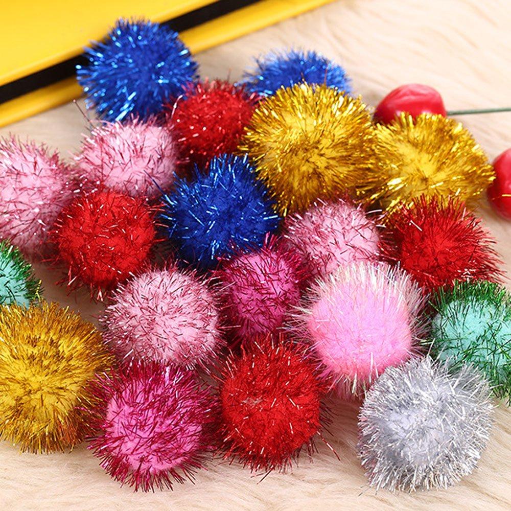 Pom Poms 100 Pieces 1.57 Inch DIY Creative Crafts Decorations Assorted Pompoms for Hobby Supplies (pom poms glitter)