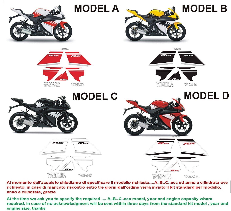 Kit adesivi decal stickers yamaha yzf r125 2008 INDICARE IL MODELLO A o B o C o D