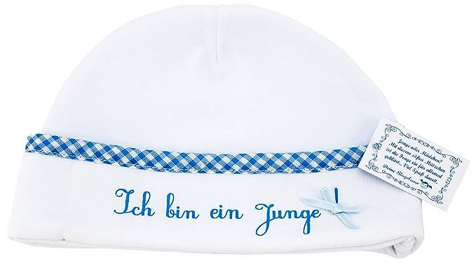 48746616485a Bonnet de bébé chapeau Ich bin ein Junge (Je suis un garçon) de couleur  blanche avec bordure décorative bleu coton 0-3 mois Ringelsuse  Amazon.fr   Bagages