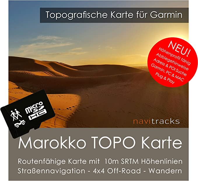 Marruecos Garmin tarjeta Topo 4 GB MicroSD. Mapa Topográfico de ...