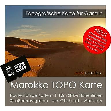 Marruecos Garmin tarjeta Topo 4 GB MicroSD. Mapa Topográfico de GPS Tiempo Libre para Bicicleta