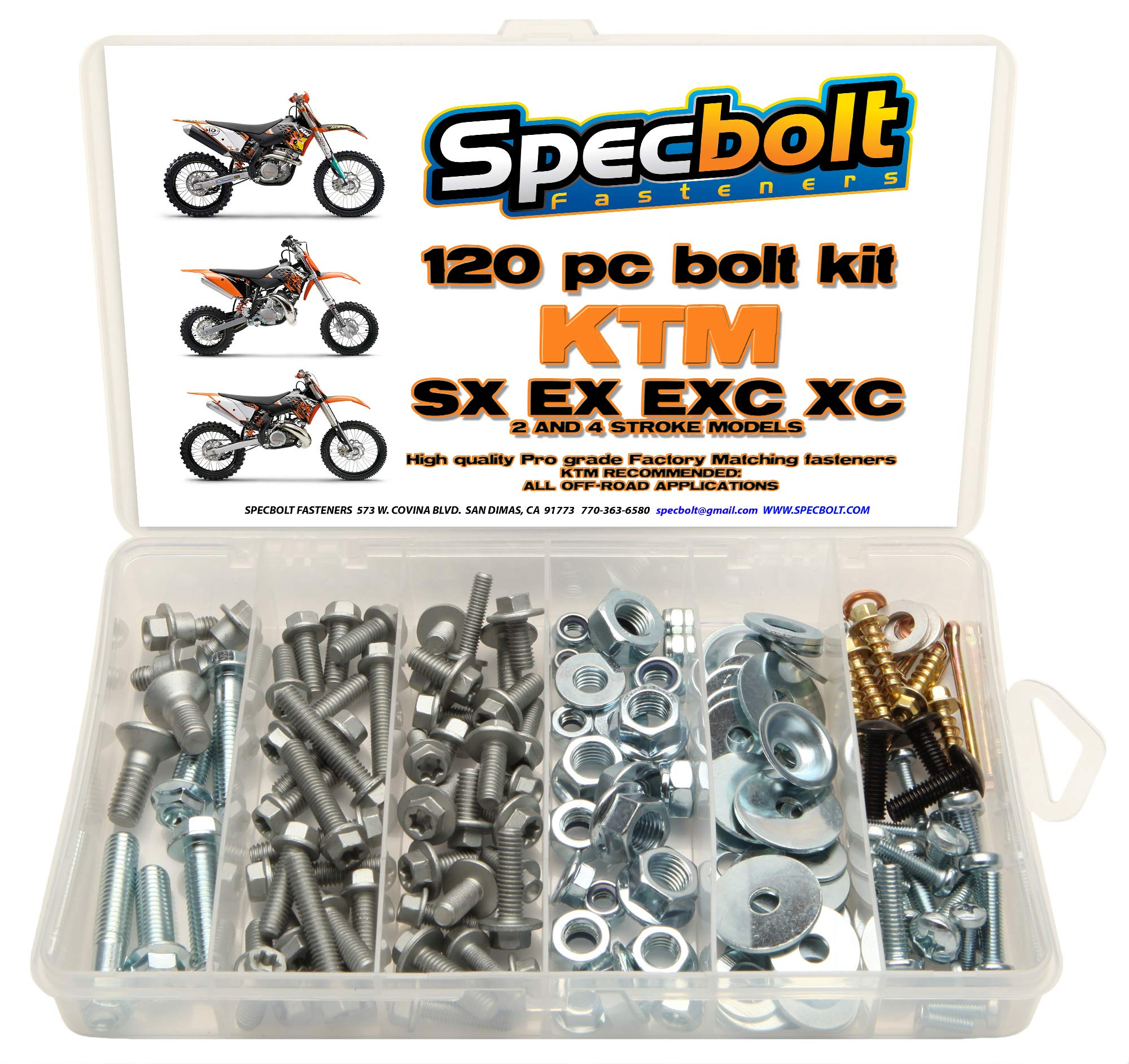 120pc Specbolt KTM SX EX EXC Bolt Kit for Maintenance MX Dirtbike OEM Spec Fastener. This includes 2 STROKES: 50 60 65 85 105 125 250 300 360 380 550 4 STROKES: 250 350 400 450 500 520 525 530 620 640 by Specbolt Fasteners