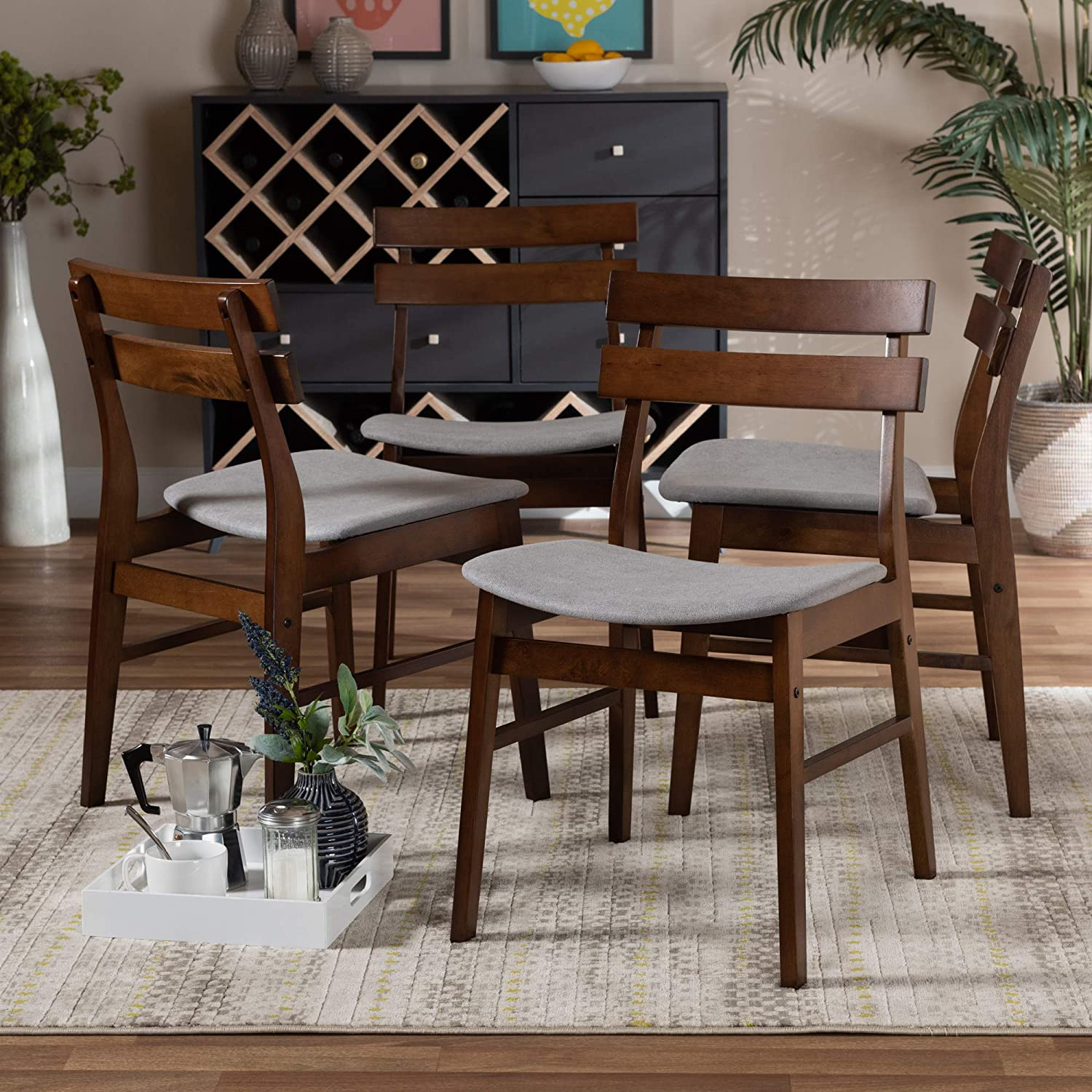 Baxton Studio Devlin Mid-Century Modern Transitional Light Grey Fabric Upholstered and Walnut Brown Finished Wood 4-Piece Dining Chair Set
