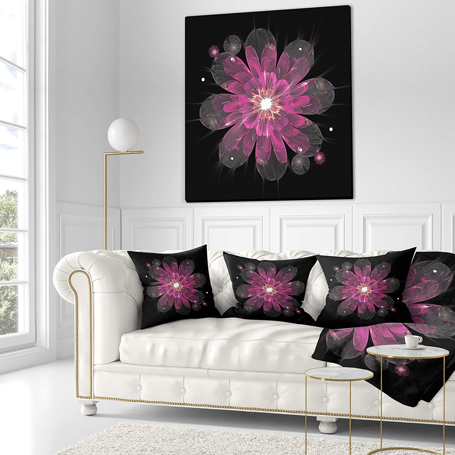 Designart Cu12176 26 26 Shiny Light Pink Fractal Flower On Black Floral Cushion Cover For Living Room Sofa Throw Pillow 26 X 26 Home Kitchen Decorative Pillows Inserts Covers