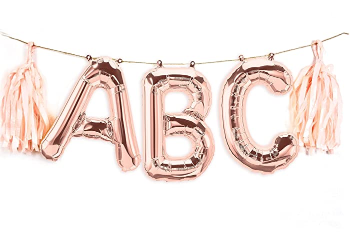 amazon com custom word 16 rose gold letter balloon banner with