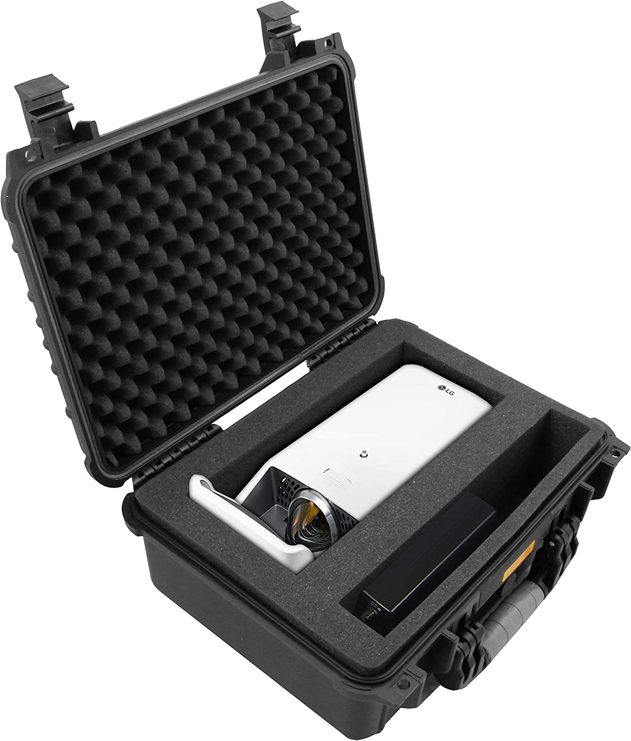 CASEMATIX Projectorbox(2019) Waterproof Short Throw Projector Carry Case Fits LG HF65LA Ultra Short Throw LED Home Theater CineBeam Projector and Accessories - Protective Rugged Travel Design