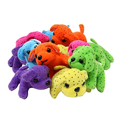 SN Incorp. Cute Neon Plush Dogs in Assorted Colors for Party Favors, Gifts, Themed Parties - Pack of 12 Stuffed Dogs: Toys & Games