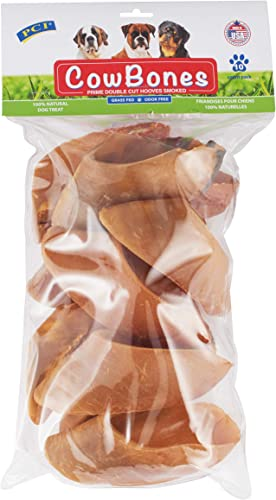 Pet Center, Inc. PCI Hickory Smoked Cow Bones Prime Double Cut Natural Hooves, 10 Count Pack