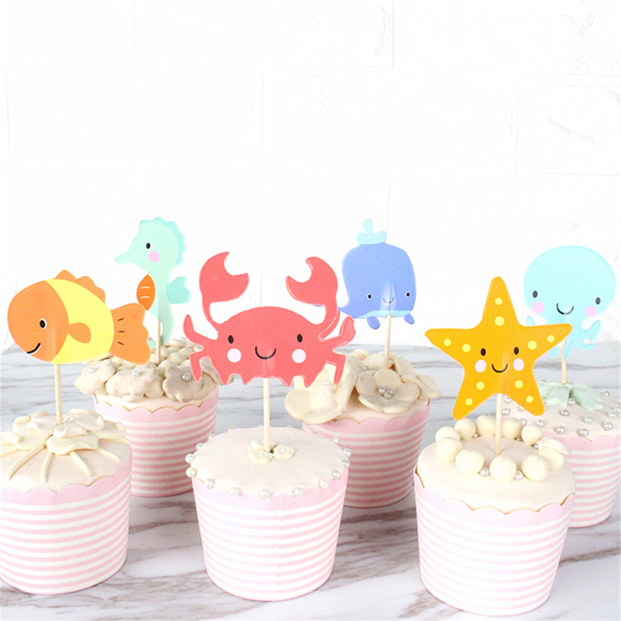 Wolpark 48 PCS Ocean Theme Cupcake Topper Cake Picks Decoration for Baby Shower Birthday Party Favors Starfish Crab Whale Seahorse Octopus and Clownfish