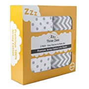 Crib Sheets | 100% Eco-Friendly Combed Jersey Cotton | Three Zees 180GSM Premium Extra Soft Bedding - 2 Pack | Grey Chevron & Polka Dot