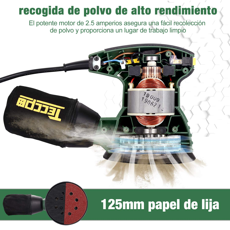 TARS22P 12 Piezas de Papel Lija TECCPO Lijadora Rotoorbital 350W para Alisar Madera y Quitar Pintura 14000 OPM con Contenedor de Polvo Reutilizable Lijadora Orbital