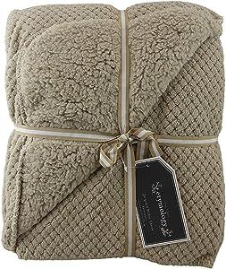 Home Style Lacquard Reversible Velvet Luxury Sherpa Berber Throw Blanket 50 x 60 (C) (Beige)