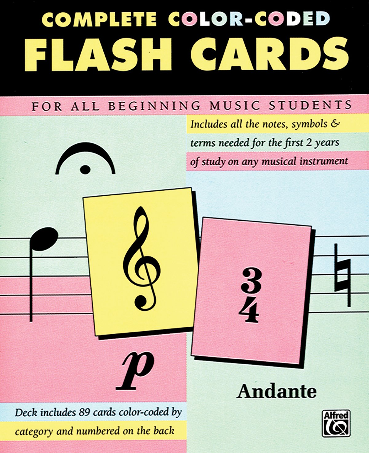 image regarding Music Note Flashcards Printable named Detailed Shade Coded Flash Playing cards for All Starting Tunes
