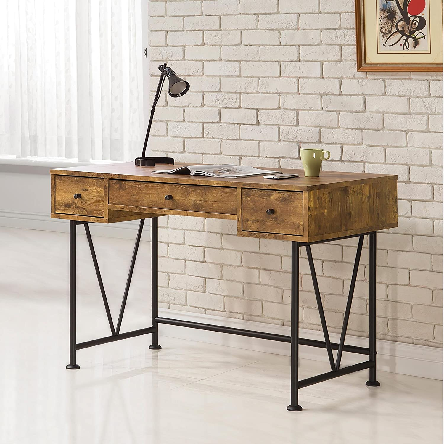 Amazon.com: Coaster Home Furnishings Analiese Modern Rustic Industrial  Three Drawer Writing Desk   Antique Nutmeg: Kitchen U0026 Dining