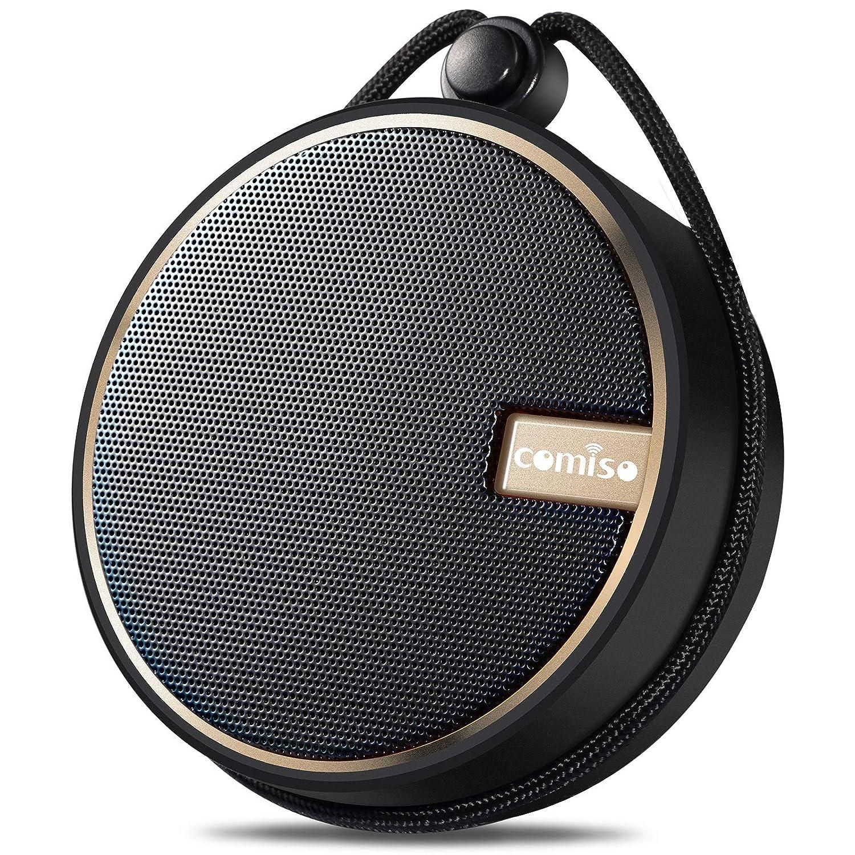 COMISO ポータブルBluetoothスピーカー IPX7 防水ワイヤレススピーカー 大音量HDサウンド 12時間再生 吸盤付きシャワースピーカー 内蔵マイク TFカード対応 バスルーム プール ビーチ アウトドア B07PHDZCFR
