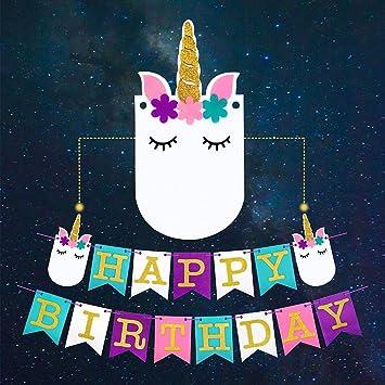 amazon com unicorn happy birthday banner cute slumber face design
