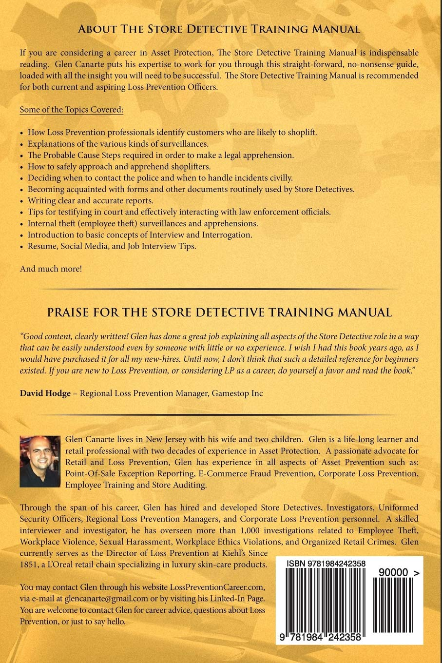 The Store Detective Training Manual: A Practical Reference for Current and  Aspiring Loss Prevention Officers: Glen Canarte: 9781984242358: Amazon.com:  Books