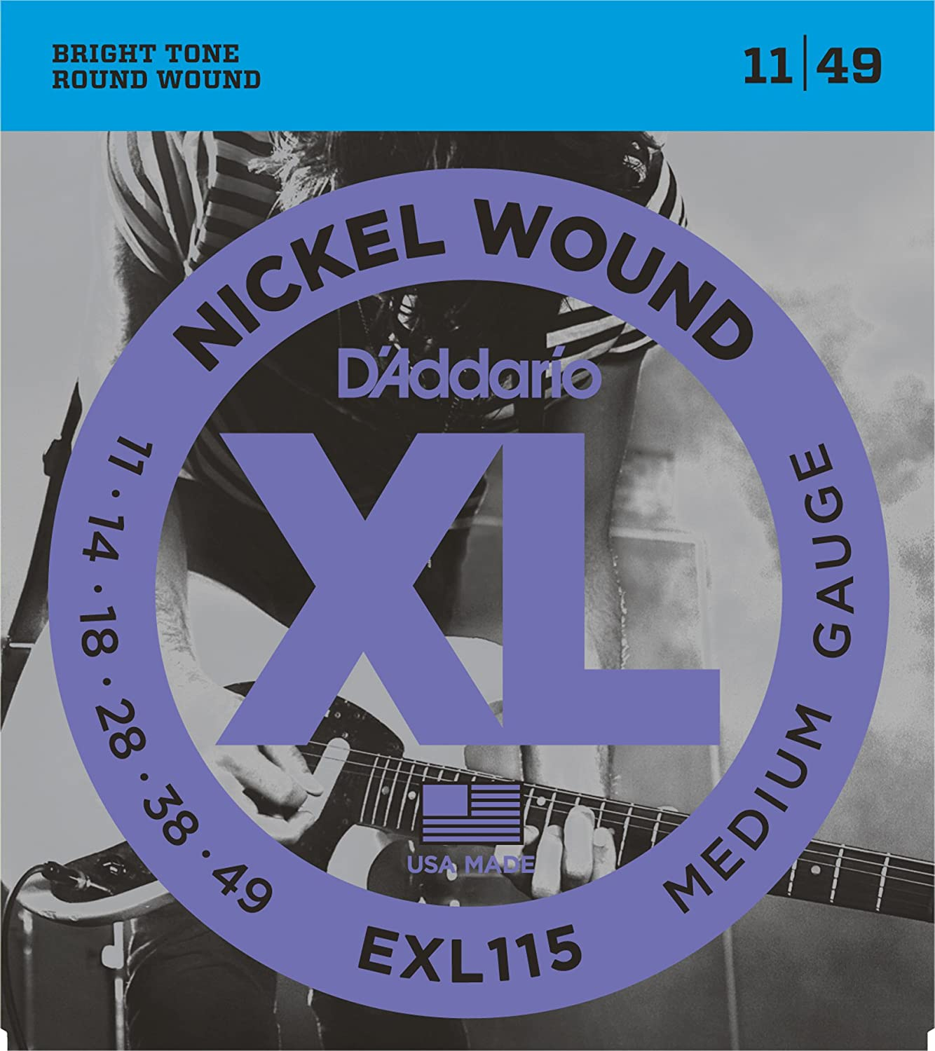 D'Addario EXL158 Nickel Wound Electric Guitar Strings, Baritone Light, 13-62 D' Addario