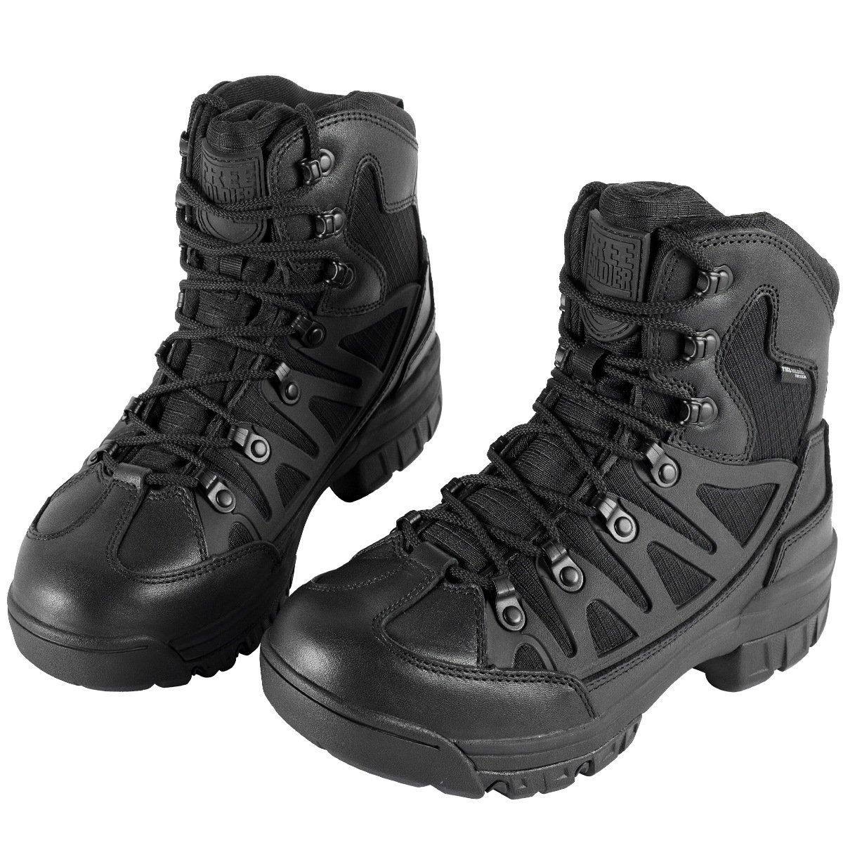 FREE SOLDIER Waterproof Mid Hiking Boots 6 Inch Outdoor Breathable Suedu Leather Tactical and Military Shoe(Black leather 10)