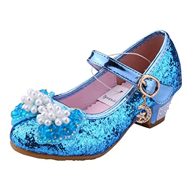 Tyidalin Niña Bailarina Zapatos de Tacón Disfraz de Princesa niña Princesa del Otoño de Las Lentejuelas de Prinavera para 3 a 12 Años 25-36