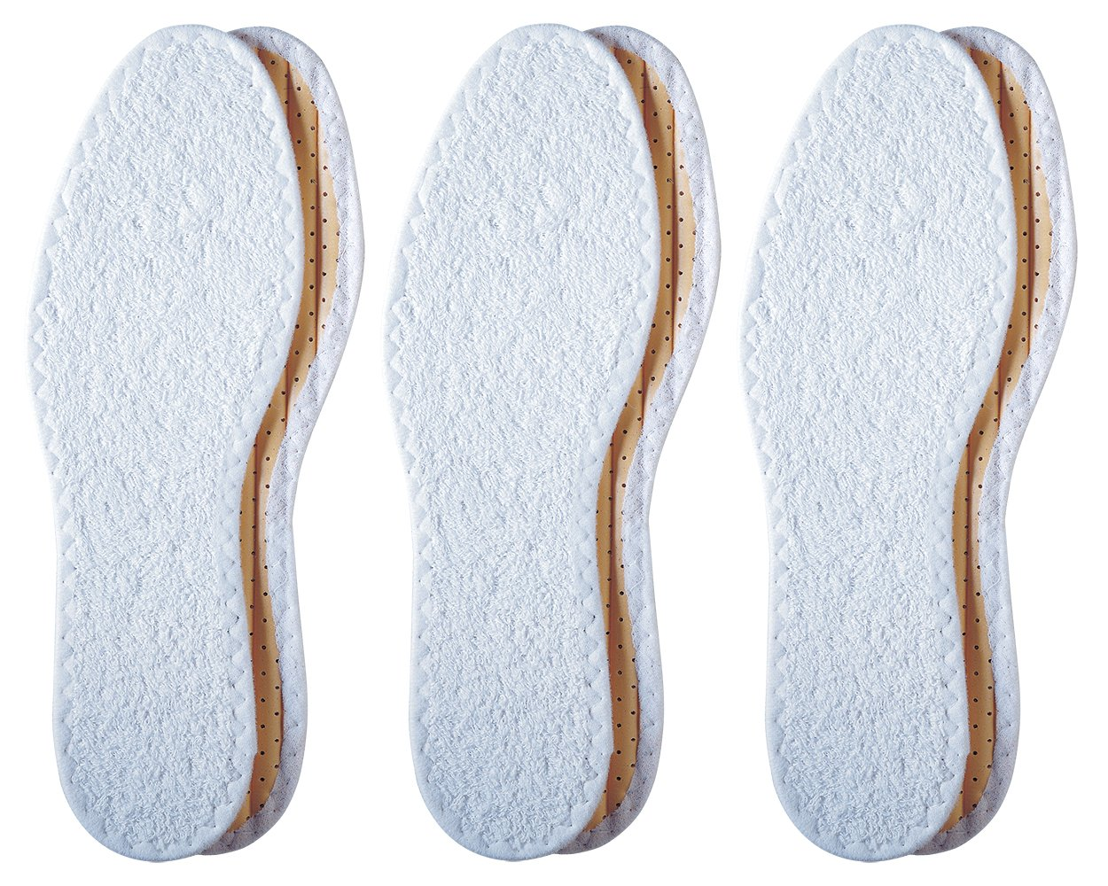 Pedag Washable Summer Pure Cotton Terry Barefoot Insole, White, US L10/M7/EU 40, (Pack of 3)