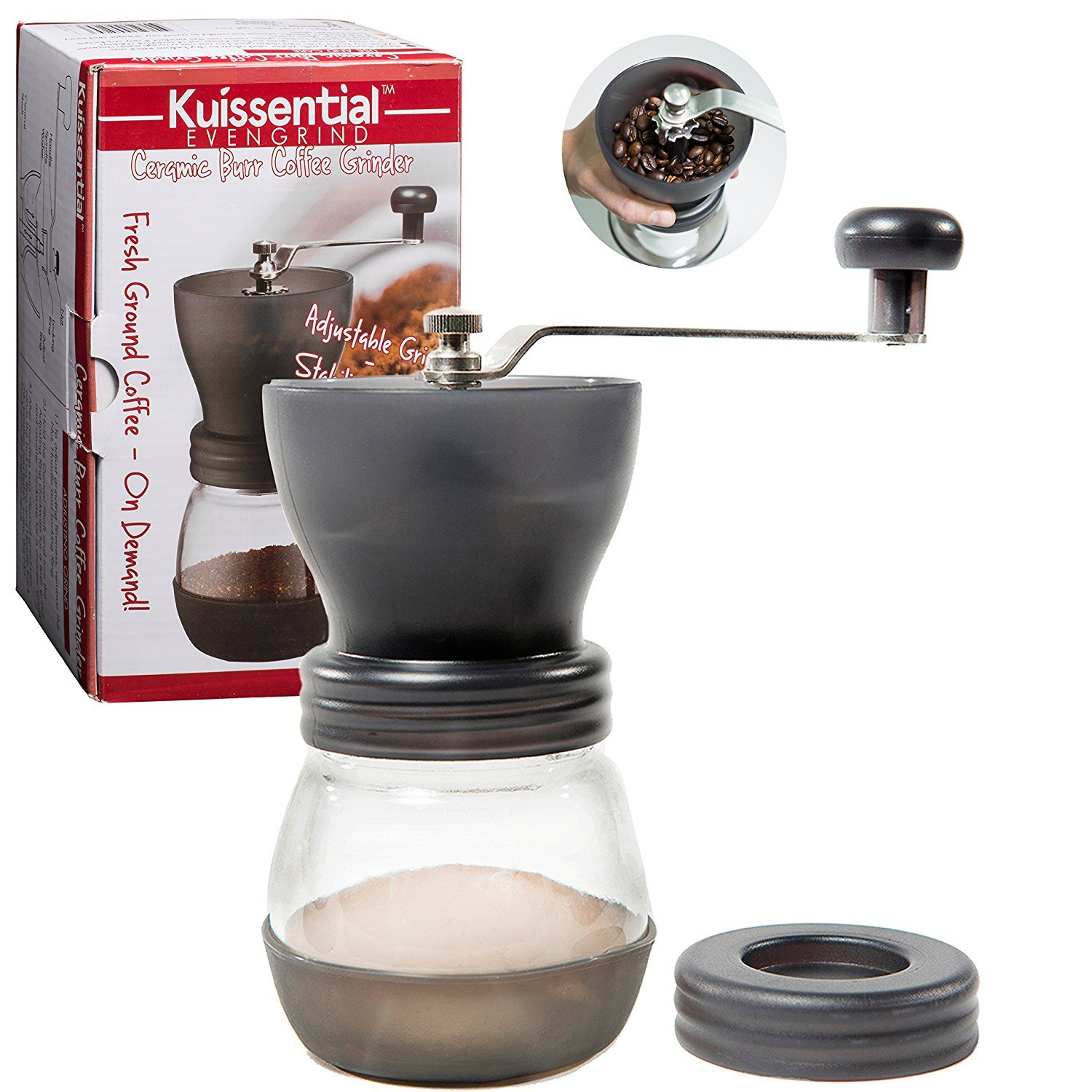 Coffee Burr Grinder- The Original EvenGrind Manual Ceramic Burr Grinder with Patented Stability Cage- Even Coffee Grounds Guaranteed! by Kuissential KEG001