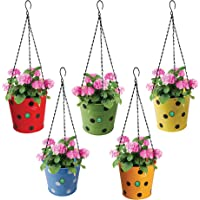 TrustBasket Dotted Round Hanging Basket - Set of 5 (Red, Yellow, Green, Orange, Blue)