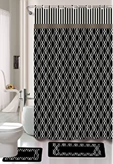 Gorgeous Home 15PC BLACK WIRES DESIGN BATHROOM BATH MATS SET RUG CARPET SHOWER CURTAIN HOOKS NON