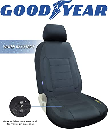 Amazon Com Goodyear Gy1247 Water Resistant Car Seat Cover 100 Pure Neoprene Fabric For Maximum Protection Fits Most Vehicles Headrest Cover 10 H X 11 W Seat 46 H X 18 W Side Airbag Compatible Automotive