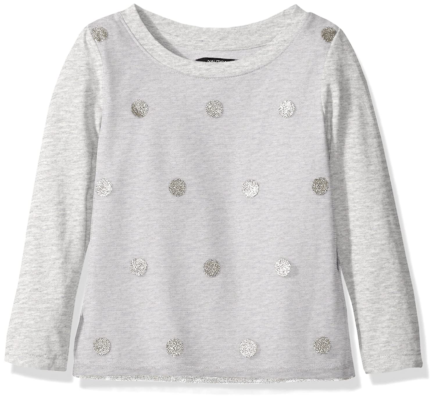 Nautica Girls' Stripe Top with Chambray Back Detail A0211Q