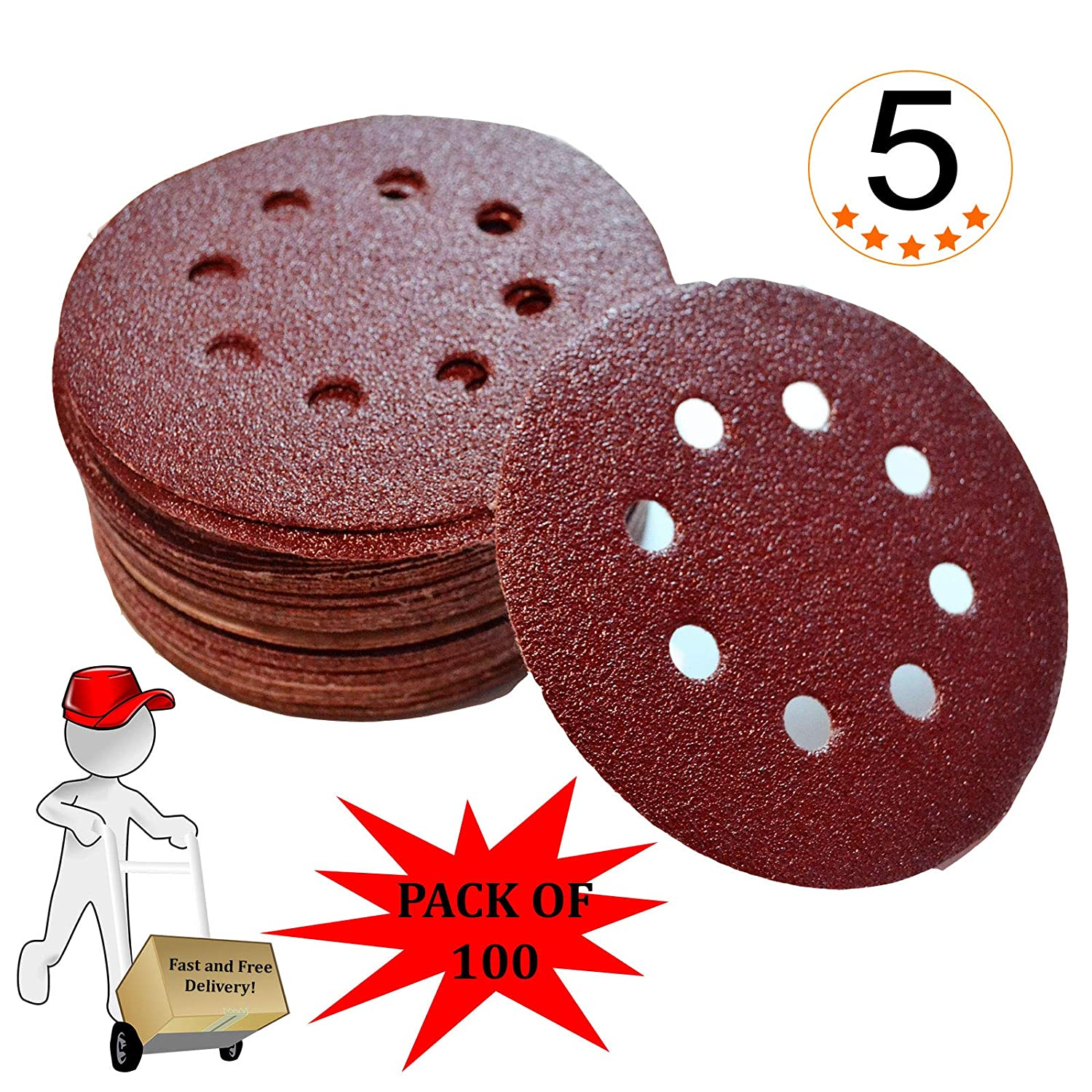 125mm 5' Sanding Discs Orbital Sander p60 Grit Pack of 100 - Other Grit Available p40, 60, 80, 120, 240, 320, 400, 600, 800 - Ask for Mixed Pack During Checkout. China