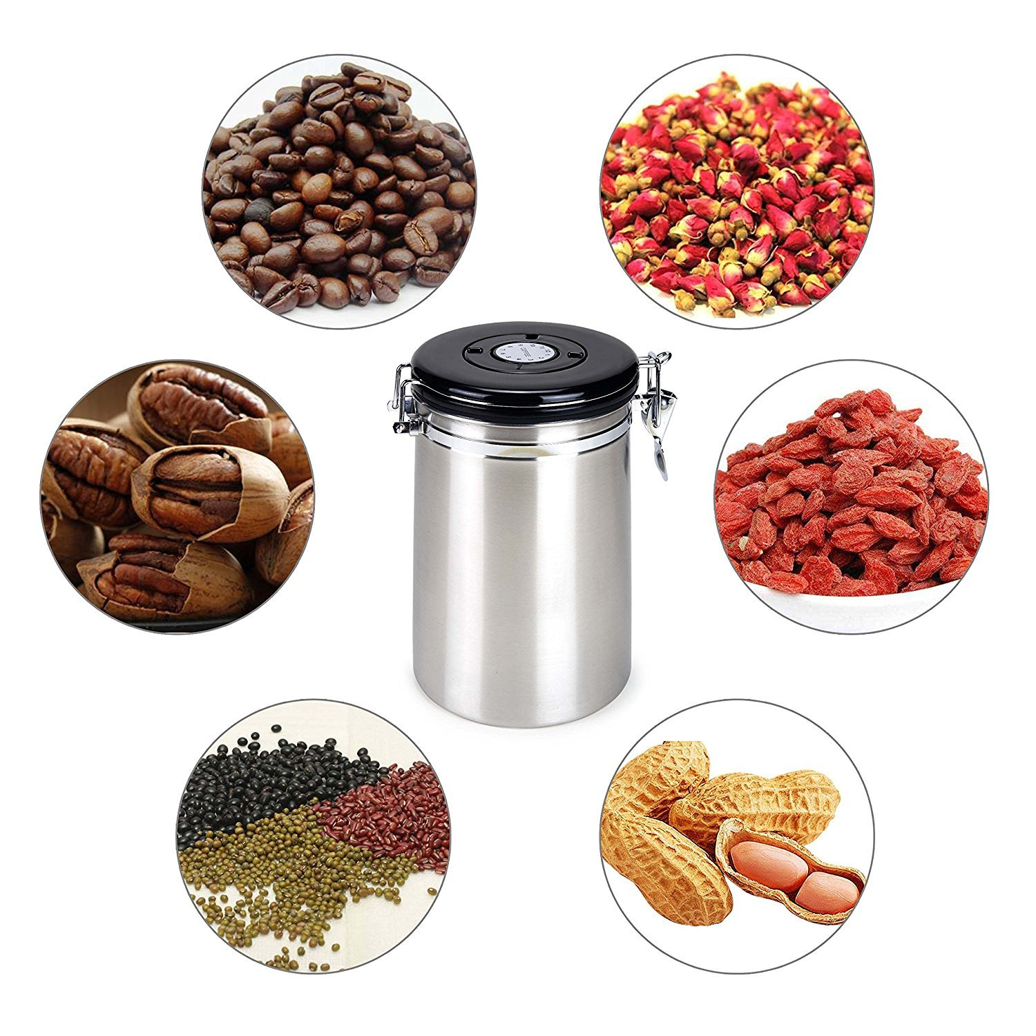 Airtight Coffee Canister,Movaty Stainless Steel Coffee Container CO2 Valve Vacuum Storage, 600g/21oz with 1 Measure Spoon,for Coffee, Tea, Nuts and Powders,Color Silver