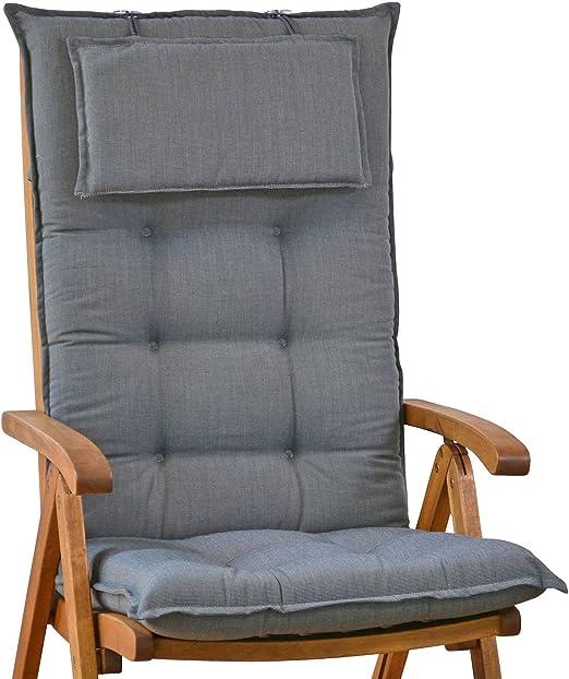 50089 51 Cuscini per sedia con schienale alto, spessore 9 cm, con cuscino di appoggio per la testa, modello Miami (sedia non inclusa)