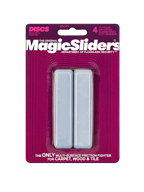 "Magic Sliders 4124 Series 4PK 15/16x4""Rect Slider, Grey"