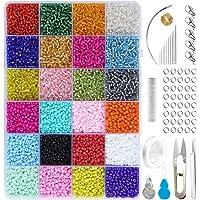 Conjunto de Cuentas de Colores,Abalorios para Hacer Pulseras,24 Colores de Vidrio Perlas de Potro Mini Cuentas para…