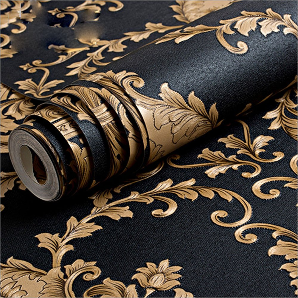 QIHANG European Luxury Classic Black Damask Stereo Deep Embossed Wallpaper Roll for Living Room Hotel Tv Backdrop 0.53m x 10m=5.3m2
