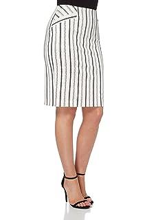 a225eeaa6a Roman Originals Women's Cotton Stripe Pencil Skirt - Ladies Classic Mid Knee  Length Regular Plus Autumn