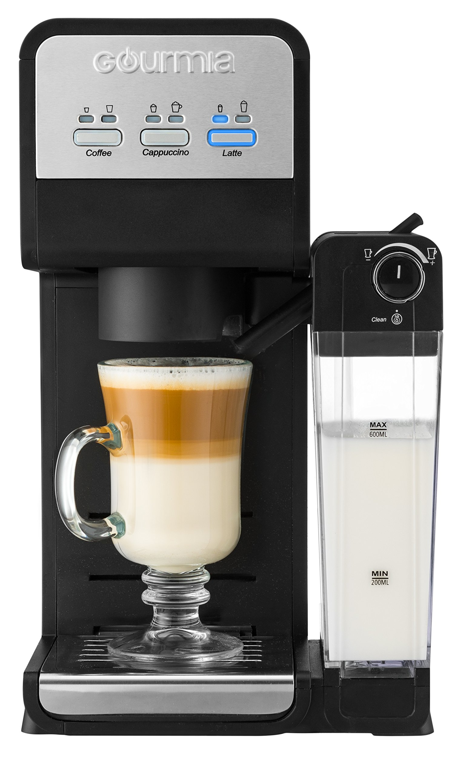 Gourmia GCM4000 3 In 1 Single Serve -1 Touch -K-Cup Compatible Coffee Cappuccino & Latte Maker -Built-In Milk Frother -Steams Milk Straight in Cup -1450W -Black