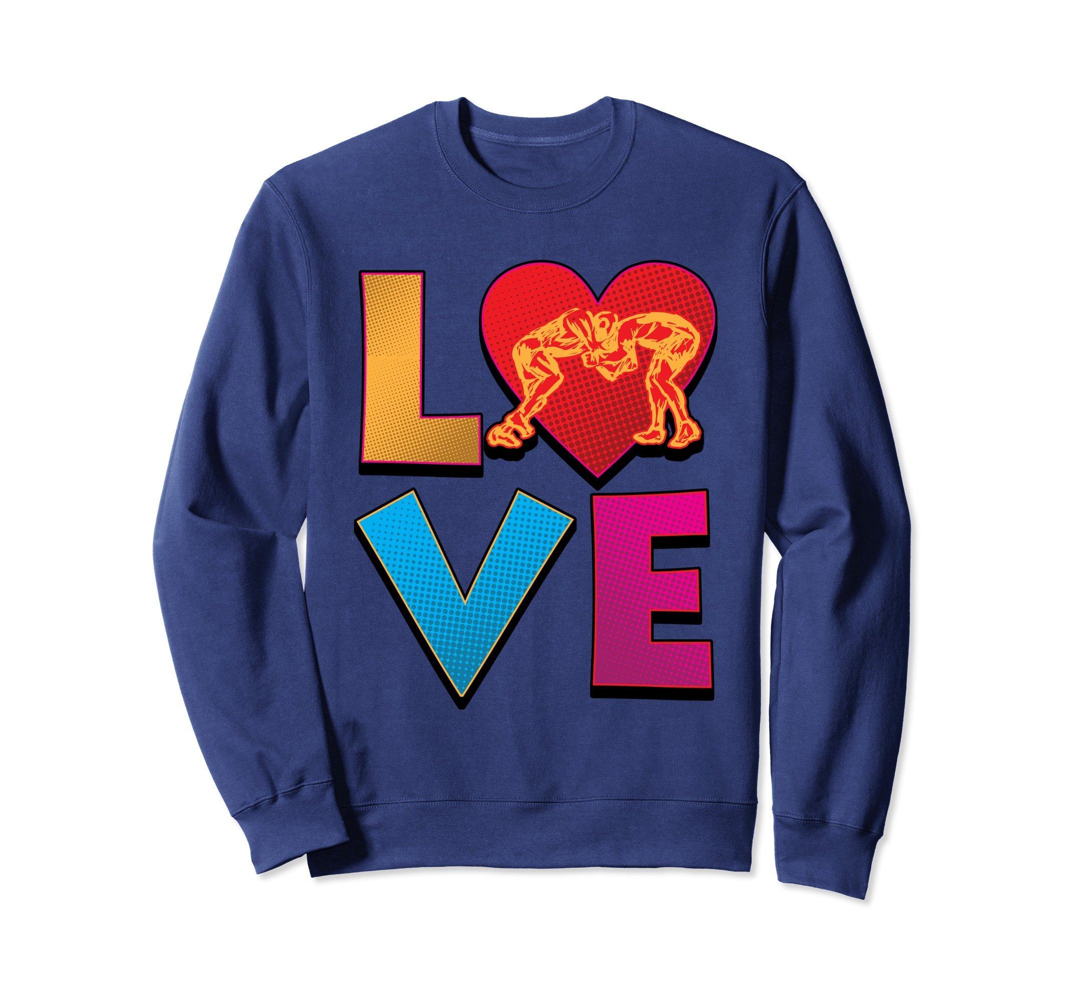 Unisex Wrestling Sweatshirt - Love Wrestling Heart Design Sweater Large Navy by Wrestling Shirt by Crush Retro