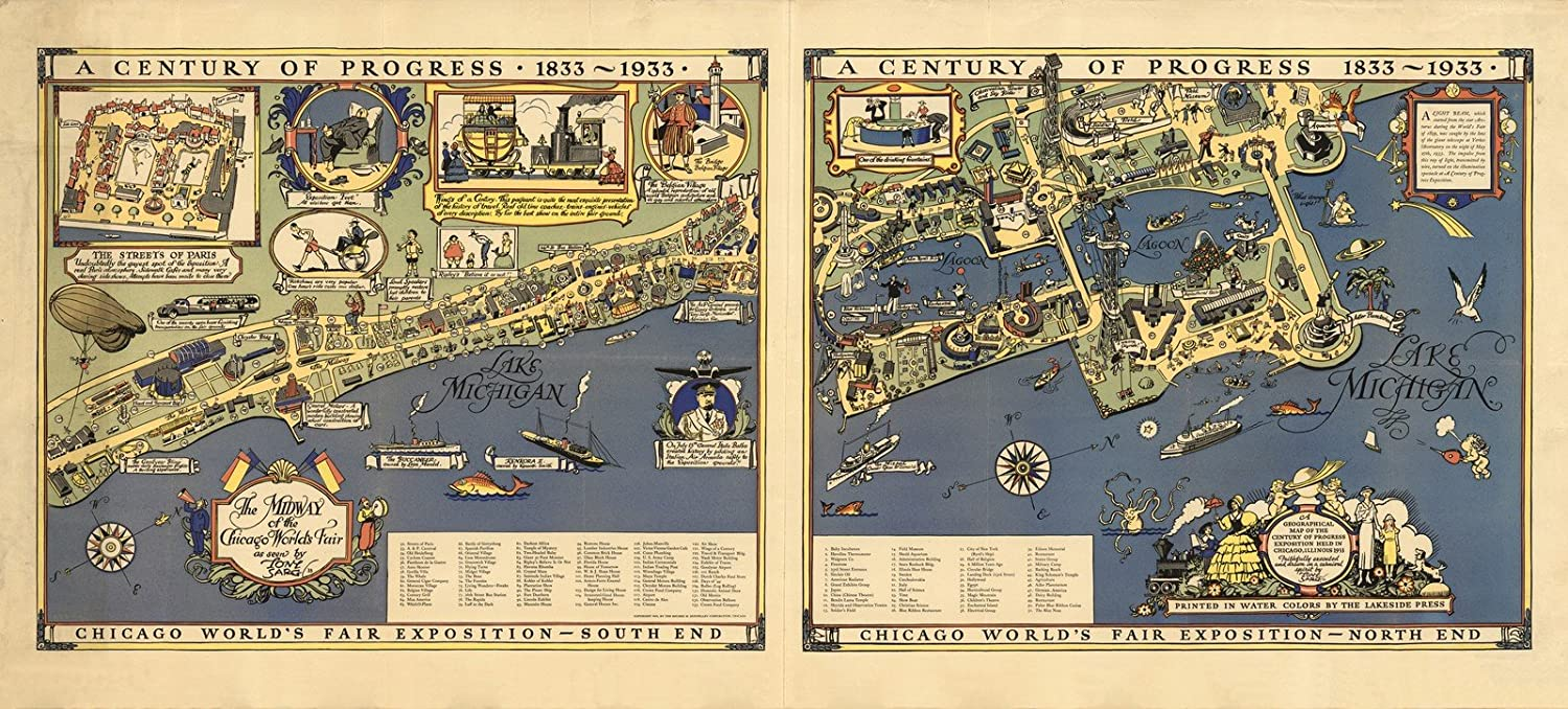 Amazon Com Historic Map A Century Of Progress 1833 1933