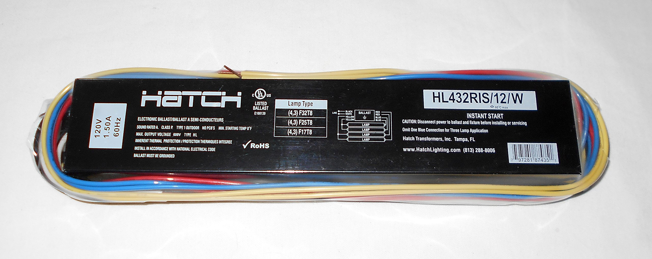 HL432RIS/12/W 4 Lamp T8 Electronic Ballast
